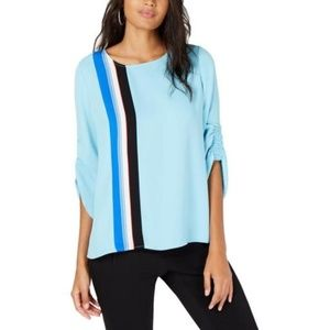 New Alfani Striped Tulip Sleeves Blouse Top